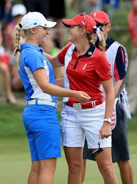 Charley Hull after beating Paula Creamer. one of the players utilising Surpass golf movement specialist service.