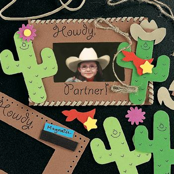 wild west crafts                    One year we did this theme and made name tag shieriffs badges out of fun foam stars and letters.    We also took pic of kids on hay with a cut out wooden horse and made the pic brown color and made picture frames from popsickle sticks and sandpaper for sand and cut a catus out of cardstock and used a wagon noodle for decorations also.      HTH,   KELLIE