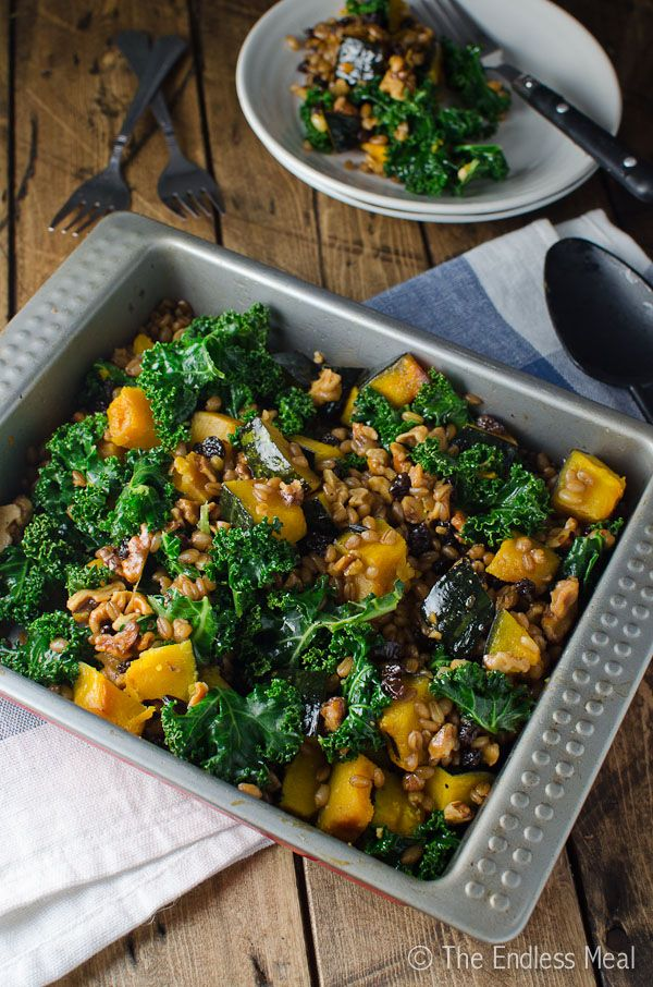Wheat Berry Salad with Squash, Kale and Walnuts. Salads. Vegetarian