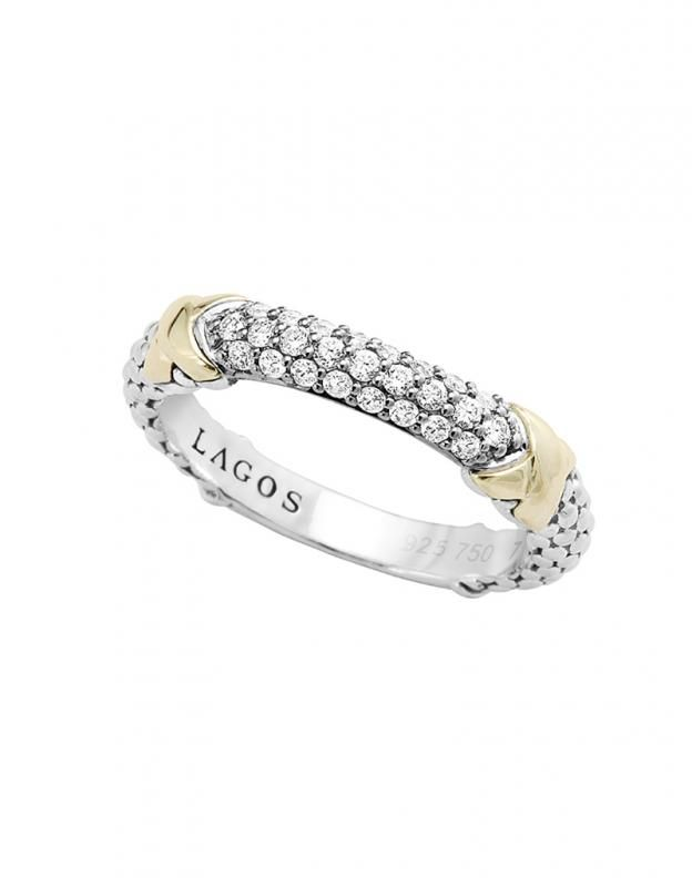 Lagos Diamond Lux Square Ring, Size 7