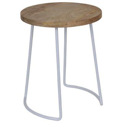 Krukje Ferro 29165 wit met hout #Casabella #Kruk #Wonen #Furniture