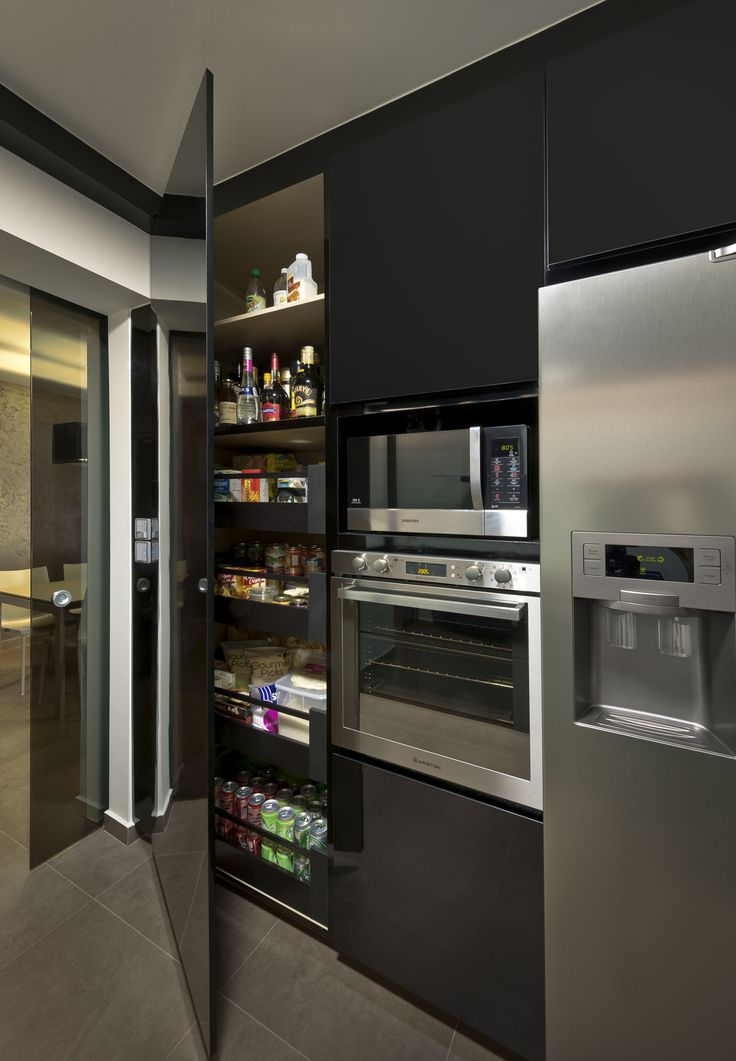 Masculine Contemporary Interior Metal Black Kitchen Design Home Decor Singapore Such A Cool Pantry Idea