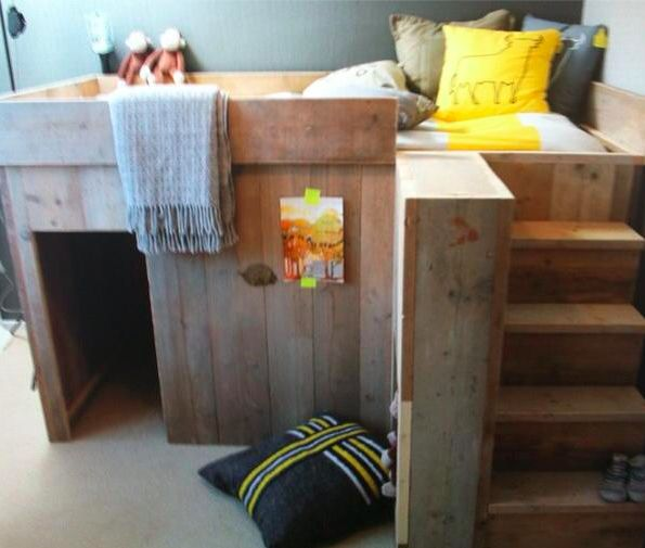 Cool kids bed cubby holes so cute for kiddos - Cool loft bed designs ...