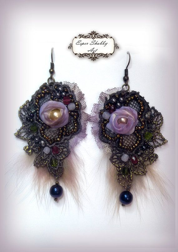 shabby chic earrings from antique handmade lace trims, silk 100%, beads crystal.
