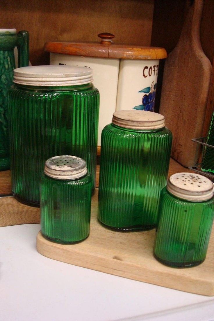 Green Depression Glass Cabinet set 4pc