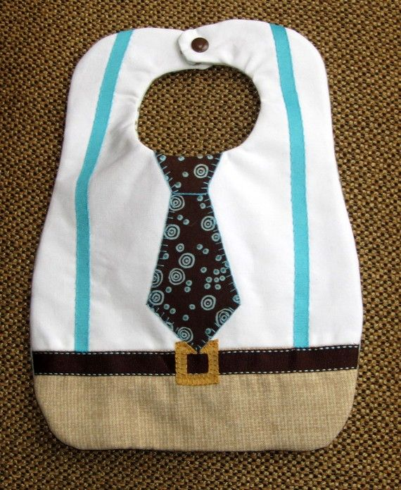 Super cute baby boy bib. I'd never make a bib this complicated, but my kid would wear it to pieces if someone gave me one.