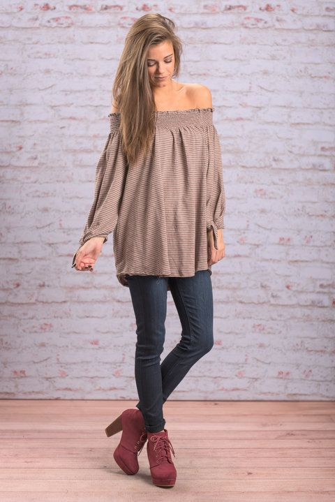"""""""Dream Journal Top, Taupe"""" This top is so trendy and dreamy! The smocked, off the shoulder neckline is so trendy! #newarrivals #shopthemint"""