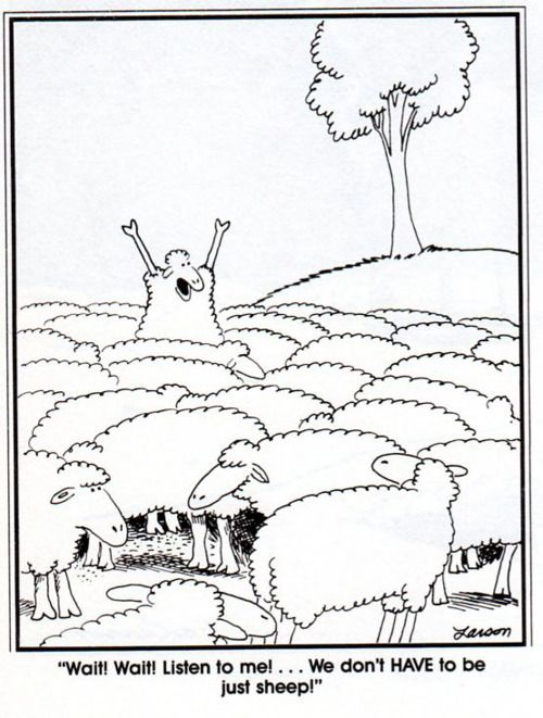 I never get tired of this one:   We don't HAVE to be just sheep! | The Far Side by Gary Larson