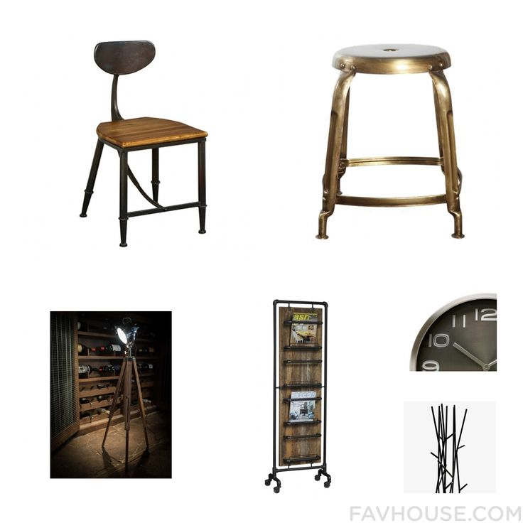 Home Idea Including Chair Iron Stool Floor Lamp And Industrial Magazine Rack From January 2017 #home #decor