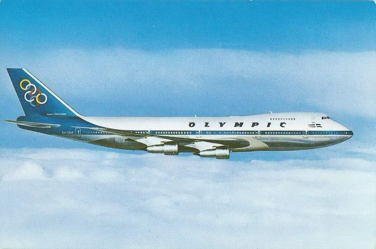 Olympic Airways Card postal Boeing B747-200