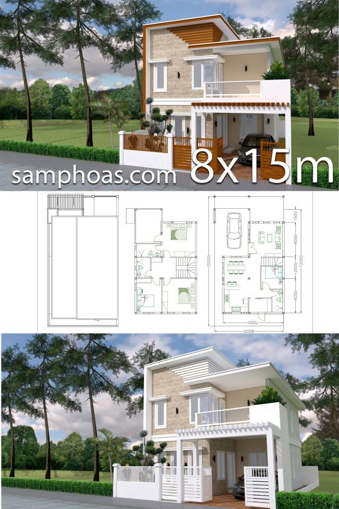 Home Design Plan 7x12m With 4 Bedrooms Plot 8x15 Samphoas Plan House Arch Design House Architecture Design Architectural Design House Plans