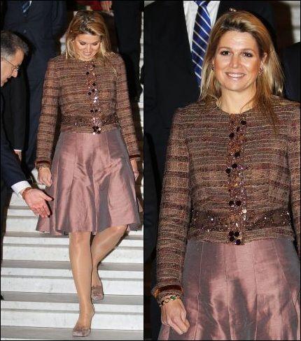 Máxima's favoriete outfits: bruin jasje met pailletten | ModekoninginMaxima.nl