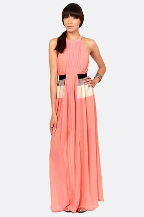 Trick or Pleat Coral Maxi