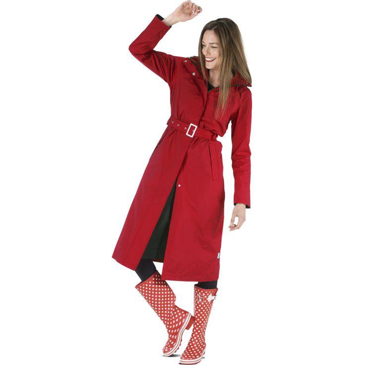Long raincoat Rosa red/black