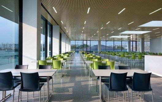 Modern spacious for office canteen interior design for Modern office exterior design