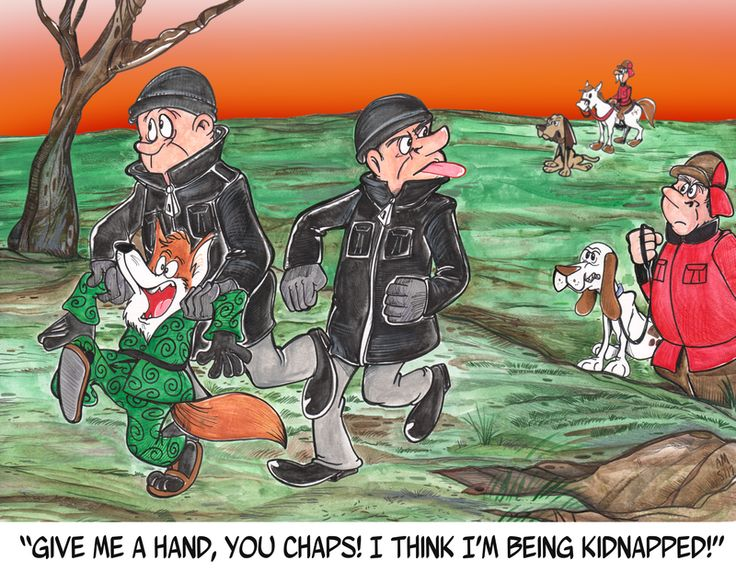 Commission: Tally-Ho No! by Granitoons.deviantart.com on @DeviantArt #horse #hunting #commission #fox #hounds #longtom #granitoons Commission for LongTom  Walter Fox is unaware of British fox hunting on horseback-and that these hunt sabs are rescuing him.