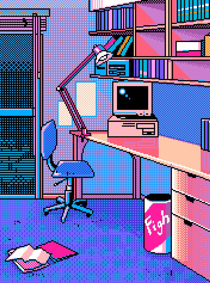Pixel art: computer desk                                                                                                                                                                                 Mais