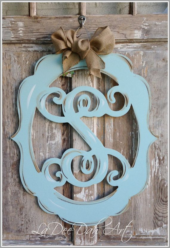 Monogram door decor vintage modern distressed by ladeedahart 59 00