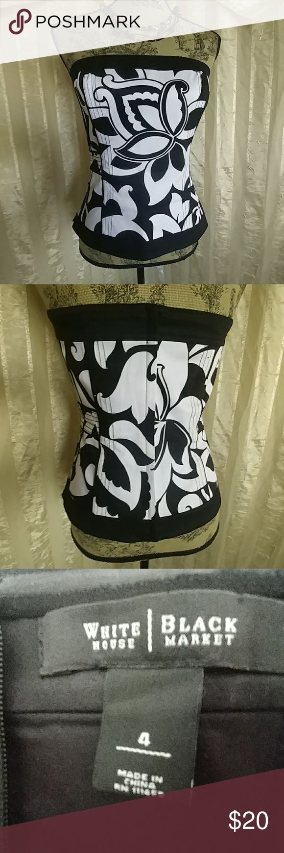 White House Black Market strapless corset top Strapless corset top By White House Black Market  size 4  has stay hold rubber trim on the top back  Zipper close on back In wonderful preowned condition White House Black Market Tops