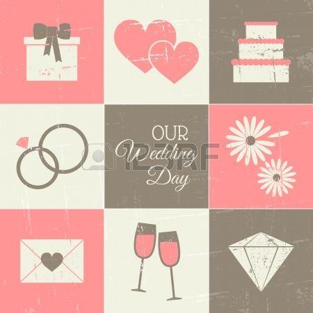 Un ensemble d'icônes de jour du mariage de style vintage. Banque d'images - 20191595