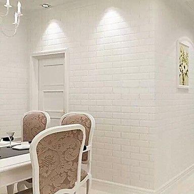 Contemporary White Brick Wallpaper Geometric Wall Covering PVC/Vinyl Wall Art – AUD $ 60.05