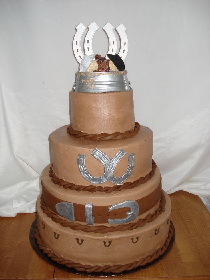 Cowboy Inspired Turquoise Wedding Cake