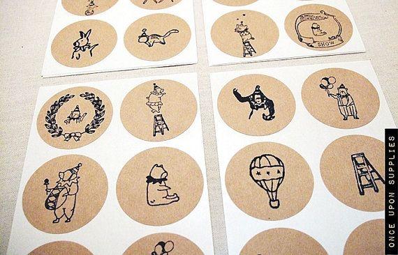 Seals: 30 Circus Theme Kraft Round Stickers - Circle Labels 1.5-inch Children's Birthday Party Supplies