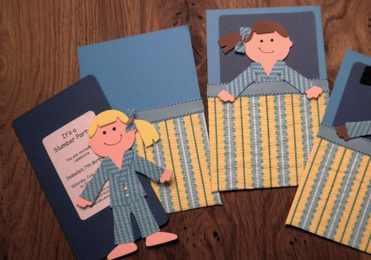 Cute invites for slumber party and paper doll theme birthday parties