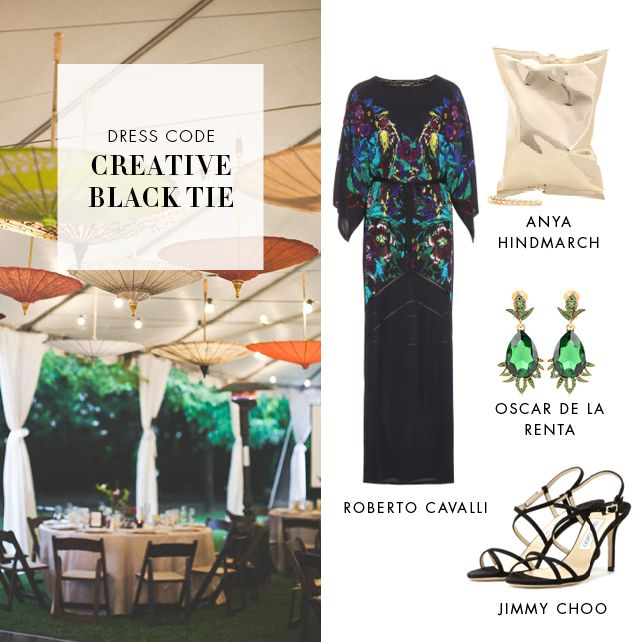 How to Dress for Creative Black Tie: Creative black tie is the seventh in our series of wedding dress codes, and probably the most fun one. Floor-length or short dressy dresses, the choice is yours. Just make sure you style it with funky prints and accessories.