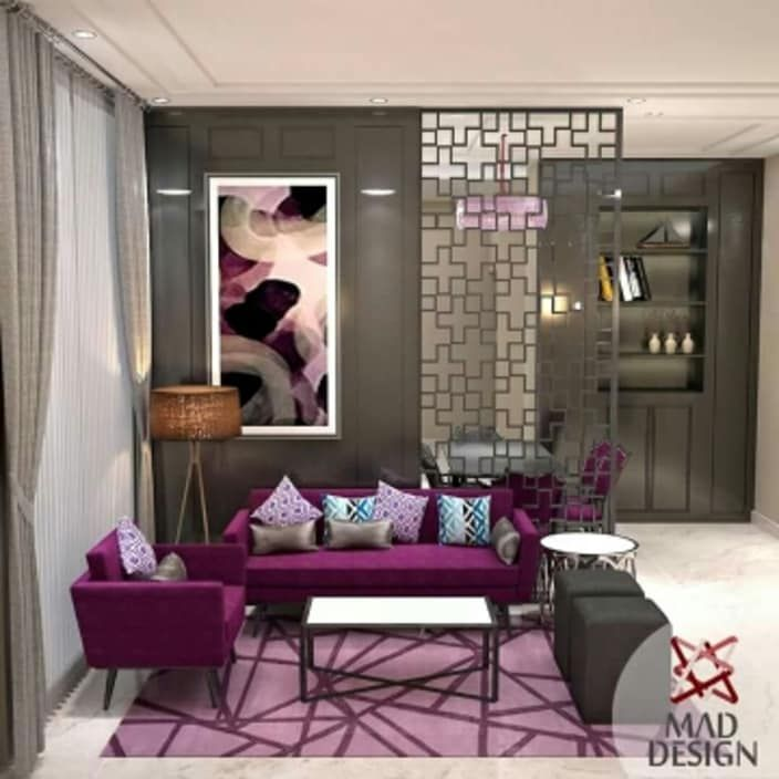 purple vibes to the modern living room. #home #homedecor