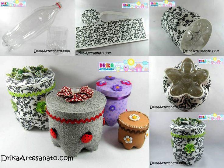 Drika Artesanato: http://drikaartesanato.com/2013/05/artesanato-com-garrafa-pet-potes-decorados.html