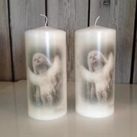 Stearinlys-7x15cm-Engel, Candles whit angel, made in Norway