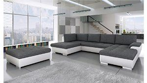 BMF Tokio Maxi WHITE GREY Corner Sofa Bed with POUF - Faux Leather/Fabric Price: £1,249.00 FREE UK delivery.