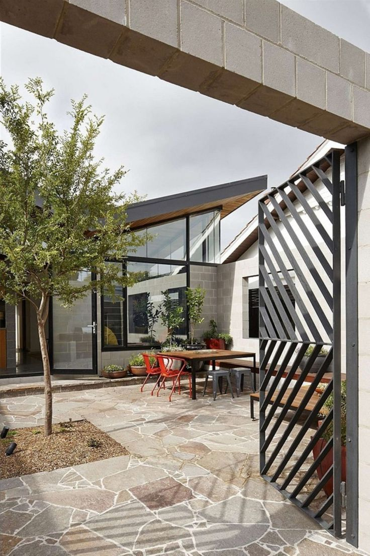 Cohen residence entry courtyard modern landscape houston by rh - Contemporary Patio By Mrtn Architects