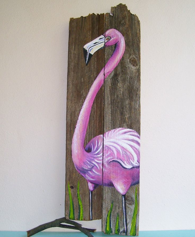 Flamingo Hand Painted on Wood Reclaimed Fence Boards