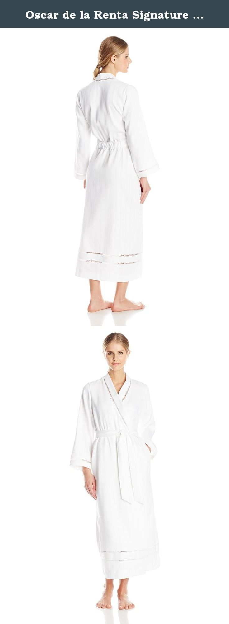 Oscar de la Renta Signature Women's Brushed Cotton Long Spa Robe, White, Medium/Large. Soft and luxe, our cotton spa long robe is an elegant essential from day to night. Fabricated in a brushed cotton stripe waffle and trimmed with a woven cotton border and venise lace inset.