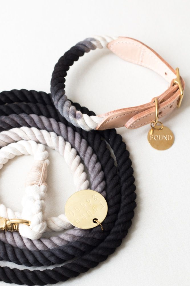 Image of Black, Ombre Rope & Leather Collar