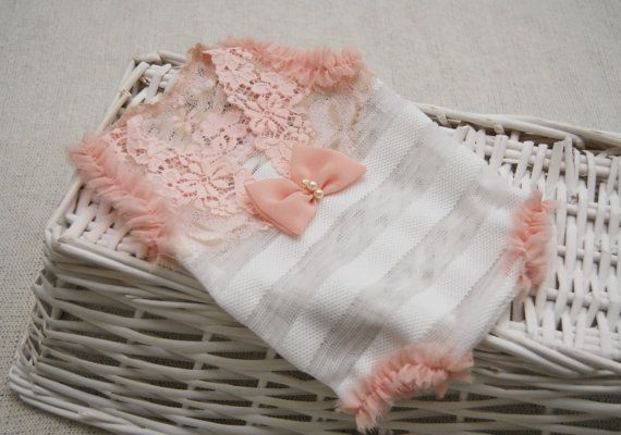 Newborn girl romper, so sweet and beautiful! Its made of a very soft white striped textured fabric for the bottom, dainty soft lace on top
