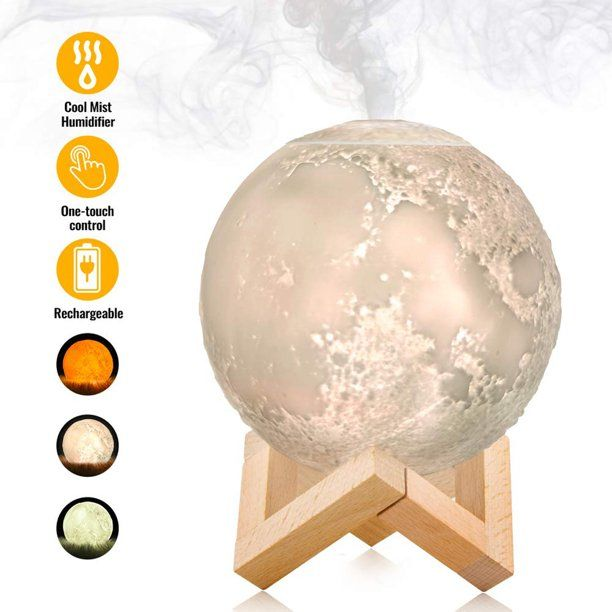 3d Moon Night Light With Stand 880ml Air Humidifier Home Use Led Lunar Moon Lamp Diffuser Aroma Essential Oil Usb Rechargeable Bedroom Decoration Walmart Com In 2020 Ultrasonic Aroma Diffuser Aroma