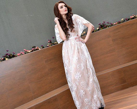 Nude Beach Wedding Dress Lace Bohemian Wedding Gown V Neck