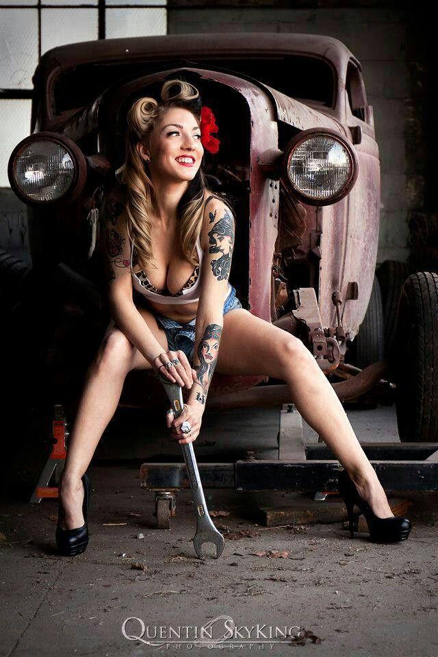 This hot rod pin up girl on harley long