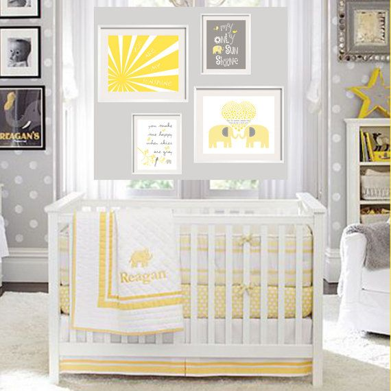 Baby Room Wall Décor Ideas Tips For Careful Parents: You Are My Sunshine Yellow And Grey Elephant Prints For