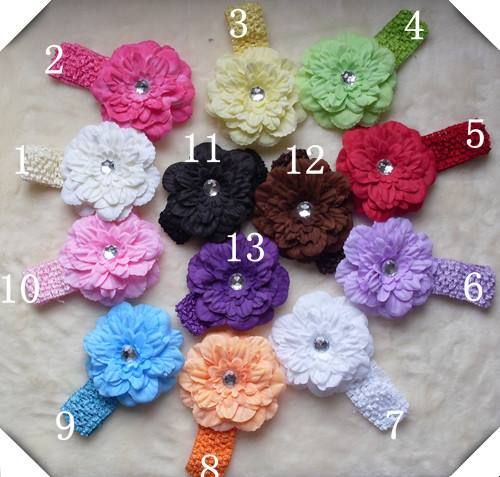 Stylish Daisy Crochet Headbands in different colors to match with dresses for your baby girls only at babycouture.in #babyheadbandsonlineIndia