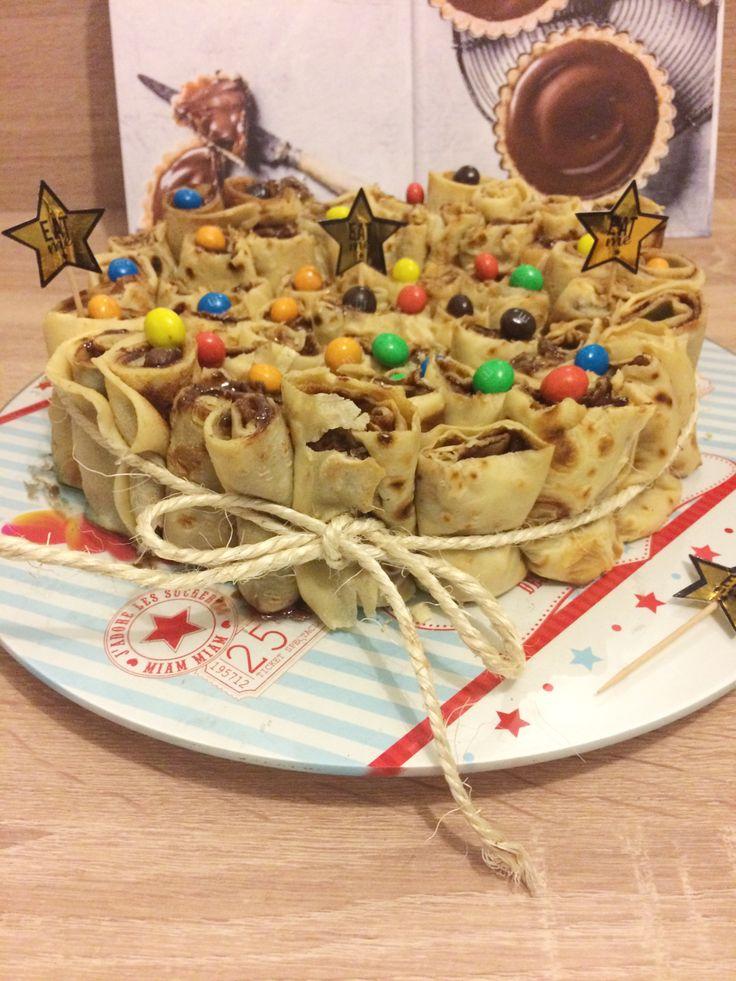 Gâteau de crêpes au Nutella & aux M&M's crispy |