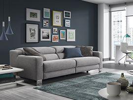 Sofás Fold Sofá de 3 a 4 plazas con mecanismos relax eléctricos y pata metálica.  AHORA 184,50€ x 10 meses sin intereses