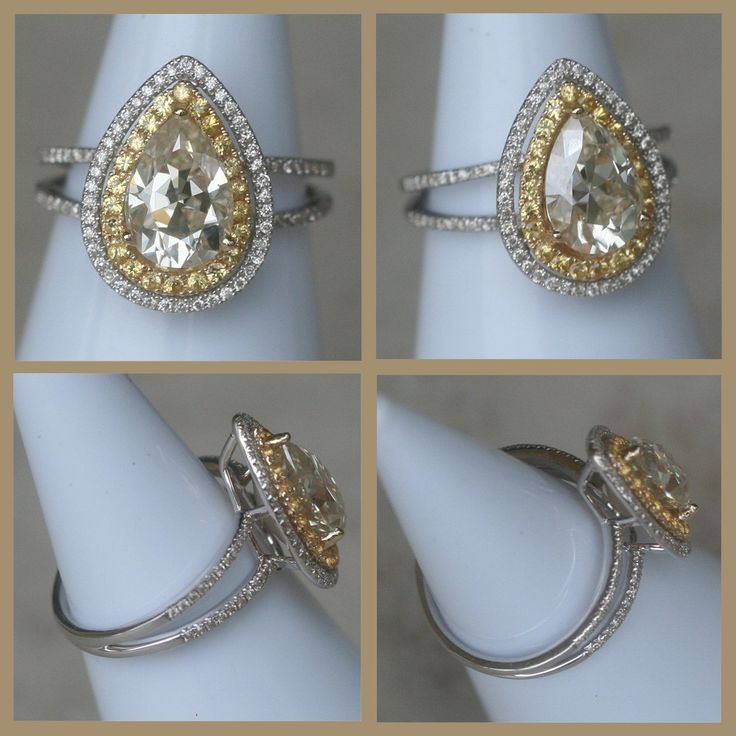 Yellow Sapphire pear shaped double halo ring with diamonds made by Laurie Sarah