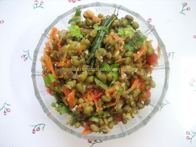 Green gram salad (Green Gram Masala Sundal