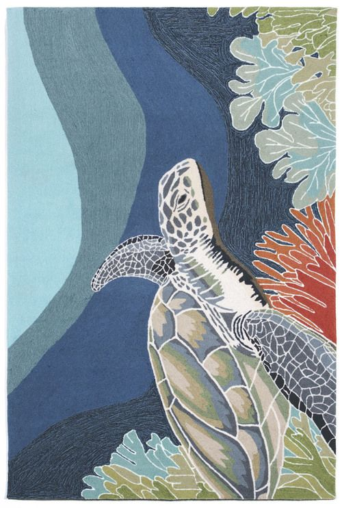 For the undersea reef lover in you - Presenting our new Akumal Ocean Sea Turtle area rug in shades of undersea blues and aqua and graced with a large fun sea turtle image.