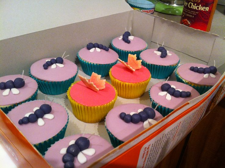 Dragonfly and butterfly cakes