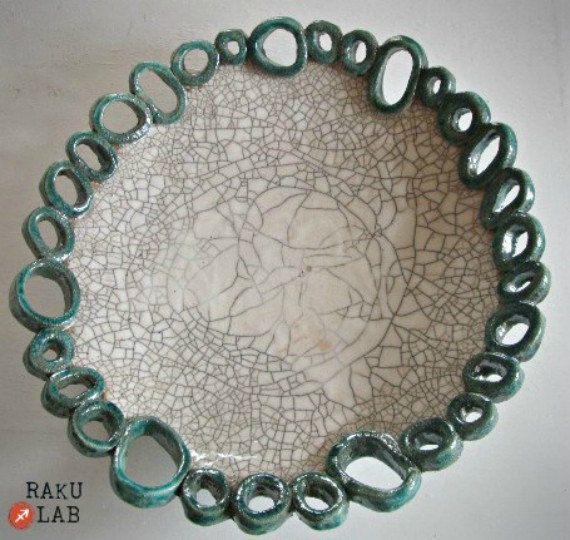 Piatto ciotola in ceramica raku  Fatto a mano  Linea Anelli